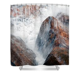 Water Hitting Rocks Shower Curtain