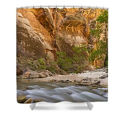Water In The Narrows Shower Curtain by Bryan Keil