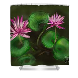 Shower Curtain featuring the digital art Water Lilies by Christine Fournier