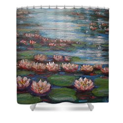 Shower Curtain featuring the painting Water Lilies In Monet Garden by Laila Awad Jamaleldin