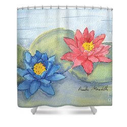 Water   Lillies  Shower Curtain by Pamela  Meredith