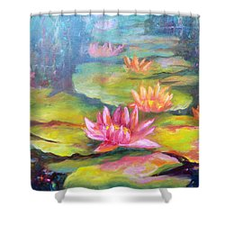 Water Lilly Pond Shower Curtain by Carolyn Jarvis
