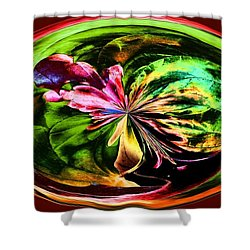 Shower Curtain featuring the digital art Water Lily Abstract Art by Annie Zeno