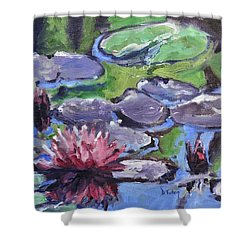 Water Lily Shower Curtain by Donna Tuten