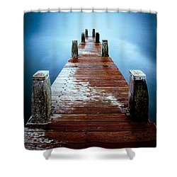Water On The Jetty Shower Curtain by Dave Bowman