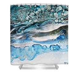 Water Ripples And Silver Linings Alcohol Inks Shower Curtain