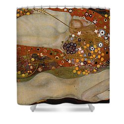 Water Serpents II Shower Curtain by Gustav Klimt