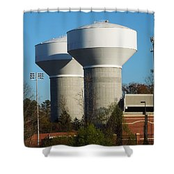 Shower Curtain featuring the photograph Water Tanks by Pete Trenholm