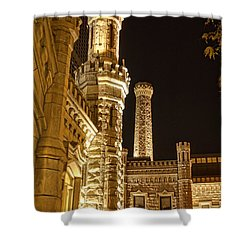 Water Tower At Night Shower Curtain