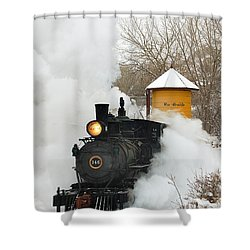 Water Tower Behind The Steam Shower Curtain