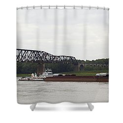 Water Under The Bridge - Towboat On The Mississippi Shower Curtain by Jane Eleanor Nicholas