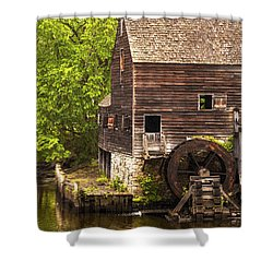 Shower Curtain featuring the photograph Water Wheel At Philipsburg Manor Mill House by Jerry Cowart