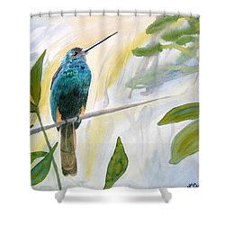 Shower Curtain featuring the painting Watercolor - Jacamar In The Rainforest by Cascade Colors
