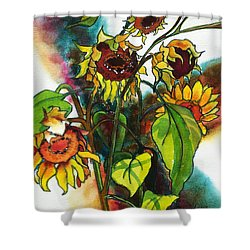 Shower Curtain featuring the painting Sunflowers On The Rise by Kathy Braud