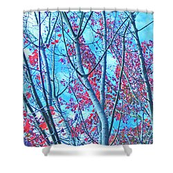 Shower Curtain featuring the photograph Watercolor Autumn Trees by Tikvah's Hope