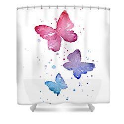 Watercolor Butterflies Shower Curtain by Olga Shvartsur