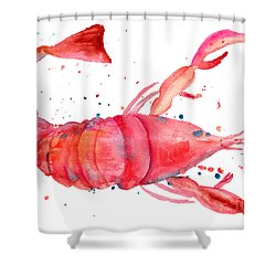 Watercolor Illustration Of Lobster Shower Curtain
