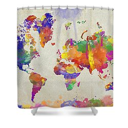 Watercolor Impression World Map Shower Curtain
