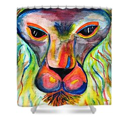 Watercolor Lion Shower Curtain by Angela Murray