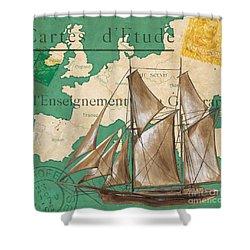 Watercolor Map 1 Shower Curtain by Debbie DeWitt