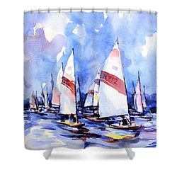 Watercolor Of Scow Boats Racing Torch Lake Mi Shower Curtain