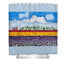 Watercolor Painting Landscape Of Skagit Valley Tulip Fields Art Shower Curtain