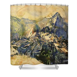 Watercolor Painting Machu Picchu Peru Shower Curtain by Ryan Fox