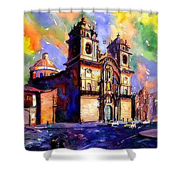 Watercolor Painting Of Church On The Plaza De Armas Cusco Peru Shower Curtain