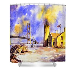 Watercolor Painting Of Ligthouse On Mackinaw Island- Michigan Shower Curtain