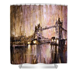 Watercolor Painting Of Tower Bridge London England Shower Curtain by Ryan Fox