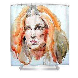 Shower Curtain featuring the painting Watercolor Portrait Of A Mad Redhead by Greta Corens