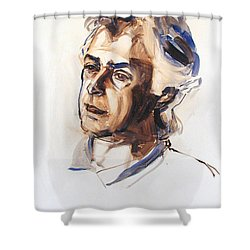 Shower Curtain featuring the painting Watercolor Portrait Sketch Of A Man In Monochrome by Greta Corens