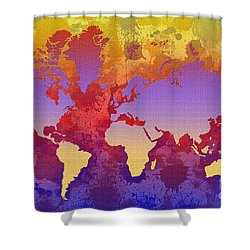 Watercolor Splashes World Map On Canvas Shower Curtain by Zaira Dzhaubaeva