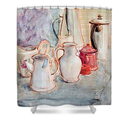 Watercolor Still Life With Red Can Shower Curtain