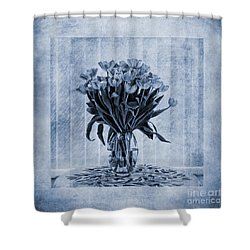 Watercolour Tulips In Blue Shower Curtain by John Edwards