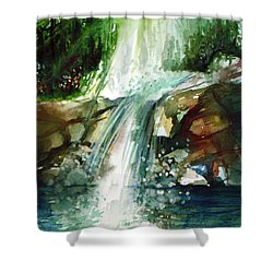 Shower Curtain featuring the painting Waterfall Expression by Allison Ashton
