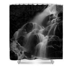 Waterfall In Black And White Shower Curtain by Bill Gallagher