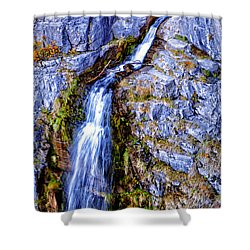 Waterfall-mt Timpanogos Shower Curtain by David Millenheft