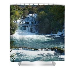 Shower Curtain featuring the photograph Waterfalls - Krka National Park - Croatia by Phil Banks