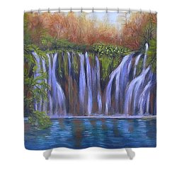 Shower Curtain featuring the painting Waterfalls - Plitvice Lakes by Vesna Martinjak