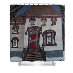 Historic 7th Street Home In Menominee Shower Curtain by Jonathon Hansen