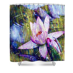 Purple Waterlily Paradise Shower Curtain