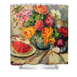 Watermelon And Roses Shower Curtain