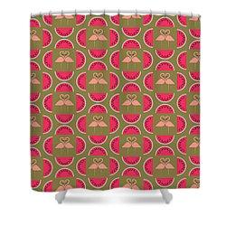 Watermelon Flamingo Print Shower Curtain by Susan Claire