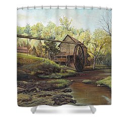 Shower Curtain featuring the painting Watermill At Daybreak  by Mary Ellen Anderson
