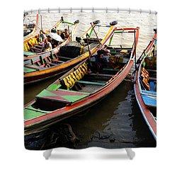 Watertaxis At The Yangon River Nan Thida Ferry Terminal Yangon Myanmar Shower Curtain