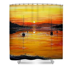 Watery Sunset At Bala Lake Shower Curtain by Andrew Read