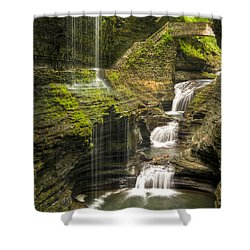 Watkins Glen Falls Shower Curtain by Anthony Sacco