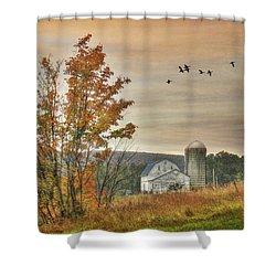 Watkins Glen Farm Shower Curtain by Lori Deiter