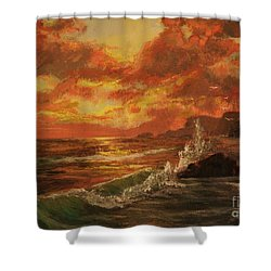 Shower Curtain featuring the painting Wave Crash by Vanessa Palomino